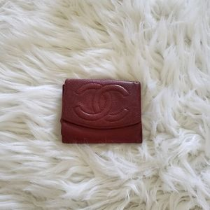 CHANEL Vintage Red Caviar Leather Wallet